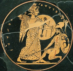Athena (left) fighting Enceladus (inscribed retrograde) on an Attic red-figure dish, c. 550–500 BC (Louvre CA3662)[1]