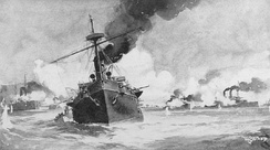 """Battle of Manila Bay"", painting by W. G. Wood, circa 1898. Reina Cristina (foreground) in action against Dewey's squadron (right)."