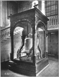 The glass-encased Liberty Bell in the tower hall of Independence Hall
