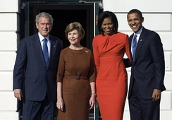 George W. Bush, Laura Bush, Michelle Obama, and Barack Obama at the White House in 2008