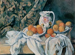 Still Life with a Curtain (1895) illustrates Cézanne's increasing trend towards terse compression of forms and dynamic tension between geometric figures.