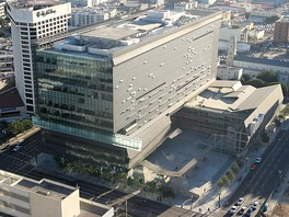 Birds-eye view of the Caltrans District 7 Headquarters building, where the department is housed.