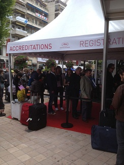 Registration and accreditation tent for the 2013 Festival