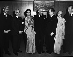 Prime Minister Nehru talks with United Nations General Assembly President Romulo (October 1949)