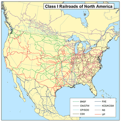 Class 1 freight rail-lines in North America
