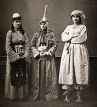 Three Damascene women, 1873: peasant (left), Druze in tantour headdress, and urban lady wearing qabqab shoes
