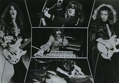 Collage of the Mark III lineup, with bassist and vocalist Glenn Hughes (left) and co-lead vocalist David Coverdale (top) joining Blackmore, Paice and Lord