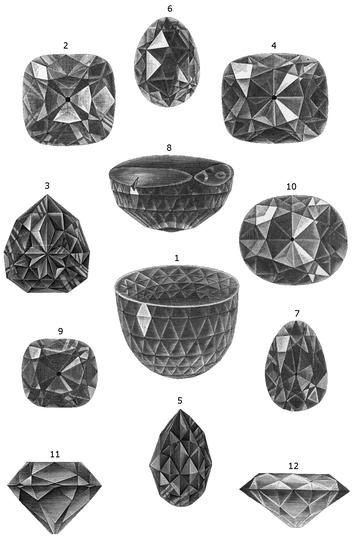 Величайшие алмазы светаиллюстрация из энциклопедии «Nordisk familjebok»1:Великий Могол; 2и11:АлмазРегента; 3и5:Флорентиец; 4и12:Южнаязвезда; 6:Санси; 7:Дрезденскийзелёныйбриллиант; 8:Кохинур,первоначальнаяогранка(до1852); 9:АлмазХоупа; 10:Кохинур,современнаяогранка(с1852)