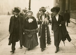 Elizabeth Garrett Anderson and Louisa Garrett Anderson, Alfred Caldecott and another in 1910 on the day they went to see the Prime Minister