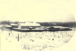 The fledgling settlement of Fairbanks as it appeared in 1903. The buildings shown are likely those of E. T. Barnette's trading post.
