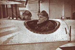 Lieutenant-Commander Sacadura Cabral and Captain Gago Coutinho in the cockpit of the Fairey III seaplane Lusitânia, at the departure for the first aerial crossing of the South Atlantic