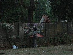 Graffiti application in India using natural pigments (mostly charcoal, plant saps, and dirt)