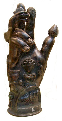 Bronze hand used in the worship of Sabazios (British Museum).[137] Roman 1st–2nd century CE. Hands decorated with religious symbols were designed to stand in sanctuaries or, like this one, were attached to poles for processional use.[138]