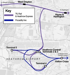 A western branch of the Elizabeth line will serve three stations at Heathrow Airport