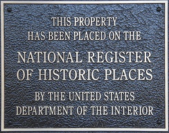 A typical plaque found on properties listed in the National Register of Historic Places.