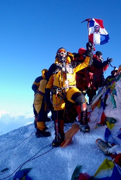 Climbers on the world's highest summit, Mount Everest.