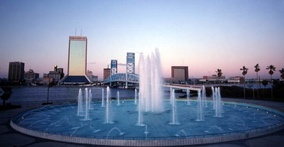 Friendship Fountain and view of downtown Jacksonville in 1982