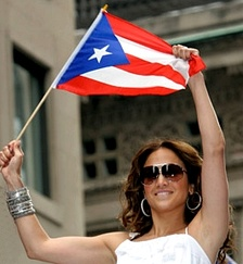 Lopez waving the Puerto Rican flag in 2009