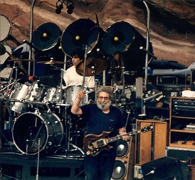 Members of the Grateful Dead perform at Red Rocks Amphitheatre in Colorado on August 11, 1987.