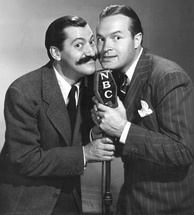 Jerry Colonna and Bob Hope on Hope's NBC radio program, 1940.