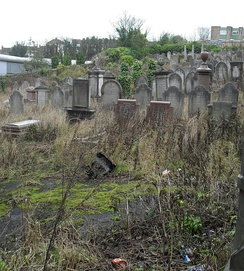 The original Jewish cemetery at Round Hill is now rubbish-strewn and overgrown.[1]