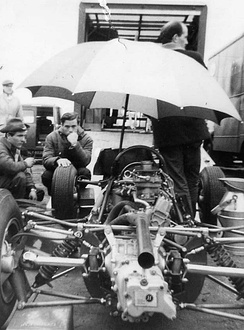 Jim Clark in the pits