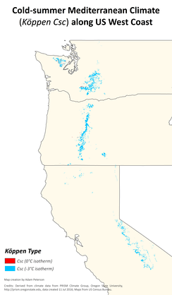 Distribution of the relatively rare cold-summer Mediterranean climate (Köppen type Csc) in Washington, Oregon and California.