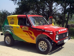 The official pace car of the Budapest-Bamako is a refurbished 1988 Lada Niva
