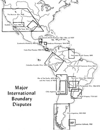 Map of disputed territories in Latin America