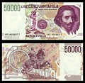 50,000 lire – obverse and reverse – 1992 (1984)