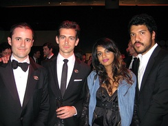 M.I.A. with partner Ben Bronfman and Twitter founders Jack Dorsey and Evan Williams