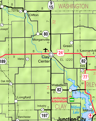 2005 KDOT Map of Clay County (map legend)