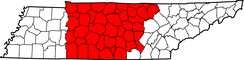 Map of Tennessee highlighting Middle Tennessee
