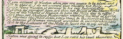 "The first reference to Satan's ""mills"", next to images of megaliths (Milton: A Poem in Two Books, copy C, object 4)"