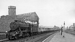 Eastbound empties passing Mirfield Station in 1964