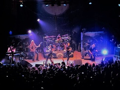 Nightwish performing with Elize Ryd and Alissa White-Gluz in Denver, Colorado, who filled in for Anette Olzon, who parted ways with the band afterwards.