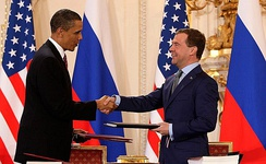 Dmitry Medvedev with Barack Obama after signing the New START treaty in Prague, 2010