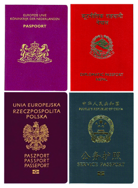 Dutch ordinary, Nepalese diplomatic, Polish ordinary, and People's Republic of China service passports