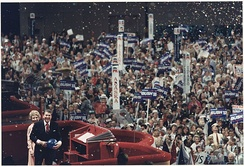President and Mrs. Reagan address the 1988 Republican National Convention in the Superdome