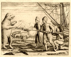 Crew of Willem Barentsz fighting a polar bear