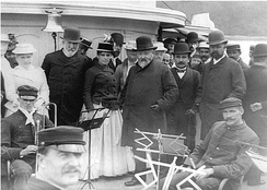 Harrison with Secretary Blaine and Representative Henry Cabot Lodge off the coast of Maine, 1889