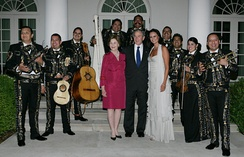 George and Laura Bush at the White House with Mariachi Campanas de América.
