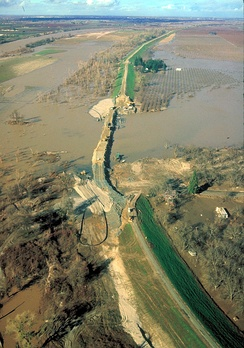 Broken levee on the Sacramento River