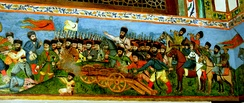 Battle scene miniature on the wall of the Khan's Palace of Shaki