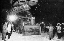 Snow fighting equipment being unloaded from a C-5A at Niagara Falls International Airport