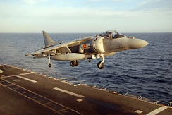 A Spanish Navy AV-8B Harrier, operating from an aircraft carrier.