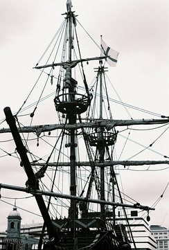 The rigging of a square rigger in London.