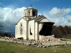 Serbian Orthodox church of St. Elijah in Podujevo destroyed in 2004 unrest by Kosovo Albanians