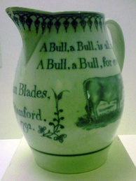 A jug commemorates Ann Blades - a Stamford bull runner in 1792