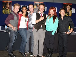The cast of Star Trek Continues at Supanova 2014: From left to right: Vic Mignogna, Kim Stinger, Christopher Doohan, Chuck Huber, Michele Specht, and Grant Imahara